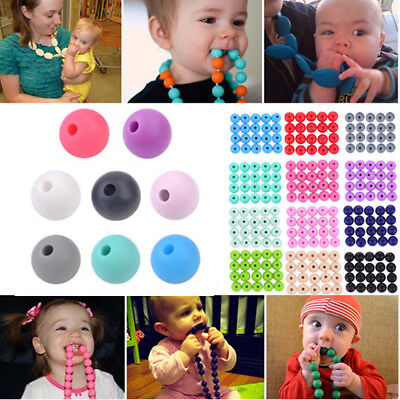 20Pcs Baby BPA Free Silicone Teething Necklace Nursing Teether DIY Round Beads