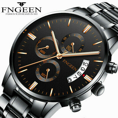 FNGEEN Men Fashion Military Stainless Steel Analog Date Sport Quartz Wrist Watch