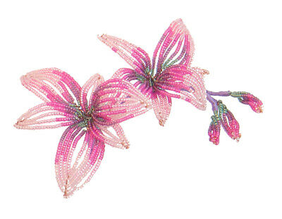 Beaded Flowers kit - Cooktown Orchid (artistic wire, glass seed beads, booklet)