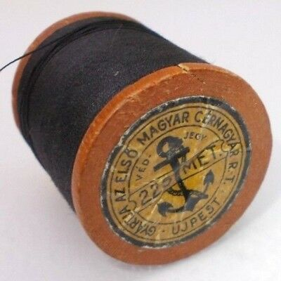 Vintage antique wooden spool thread reel sewing tool Hungary 1930's