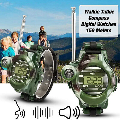 2PCS Kids Walkie Talkies Wrist Watches Intercom Electric Outdoor Army Game Toy
