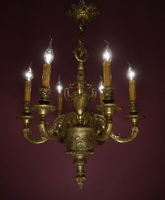 Antique & Beautiful 6 Light Spanish Chandelier Bronze Old Vintage Ceiling Lamp