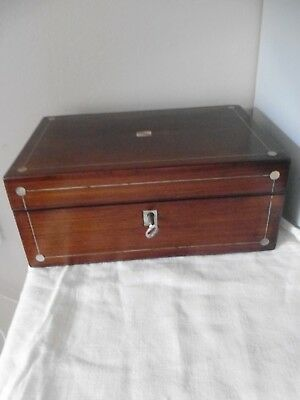 Antique wooden box , Rosewood with mother of pearl banding ,  key  , 25x17x10 cm