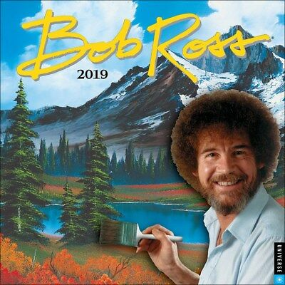 Bob Ross The Joy of Painting 2019 Official Square Wall Calendar 30x30cm