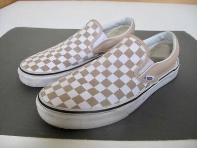 81239d9887c3 Mens VANS Slip Ons Checkerboard Trainers Skateboard Shoes Rare Tan White 42  Uk 5