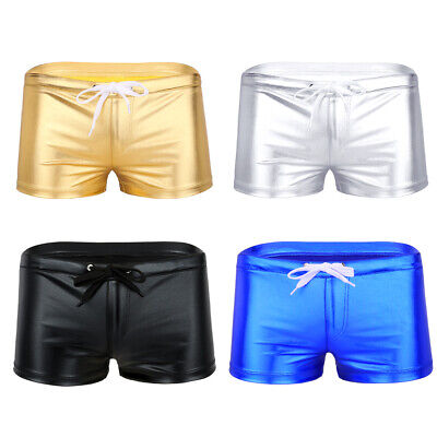 Men's Patent Leather Boxer Briefs Drawstring Swim Trunks Shorts Pants Underwear