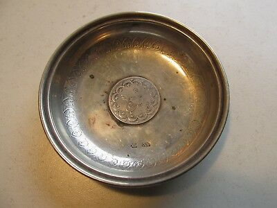 solid silver coin dish     stamped 800