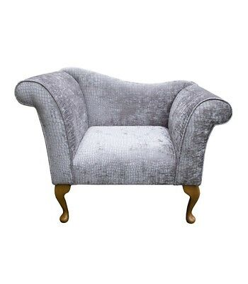 "37"" Small Chaise Longue Lounge Bench Seat Chair Silver Fabric Queen Anne UK"