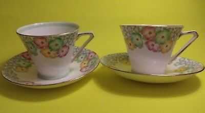 Pair Vintage (1930-1960) Bell China Floral Cups & Saucers Art Deco?