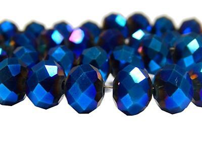 60 Glasperlen Facettier 8mm Fire-Polished Blau Tschechische Kristall MODE X251#3