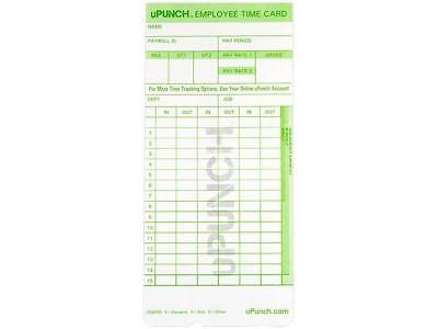 uPunch HN1000 Time Cards for Use with the HN1000 Time Clock - 1 pack (50 cards)