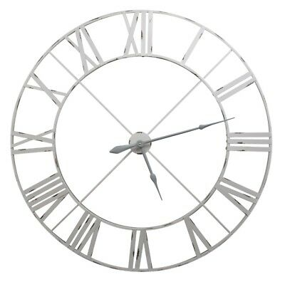 Shabby Chic Extra Large 110cm Vintage Pale Grey/off White Metal Wall Clock