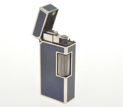"Dunhill silver Rollagas lighter rare small ""Blue Lacquer"" mint perfect"