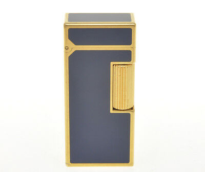 "Dunhill gold Rollagas lighter rare small ""Blue Lacquer"" mint perfect"
