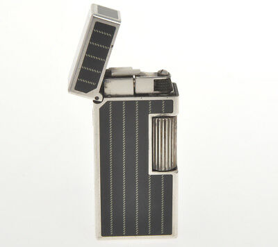 "Dunhill silver Rollagas lighter rare small ""Black Lacquer & lines"" mint"