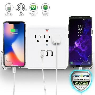 Multi Outlet USB Port Wall Tap Surge Protector Adapter Charger Wall Phone Holder