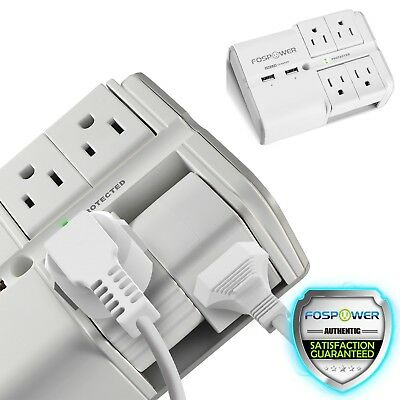 [UL Listed] 4 Rotating Outlet Safety Surge Protector 2 USB Swivel Wall Plug Tap