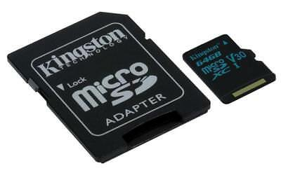 Kingston Canvas Go! 64GB microSD Card with SD Adapter - Class 10 UHS-I U3