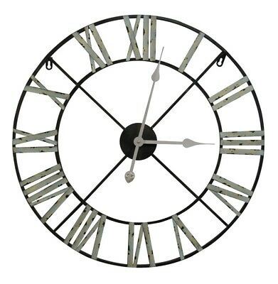 French Antique Style Shabby Chic Large Vintage Metal 60cm Wall Clock