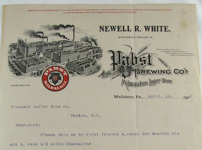 neat! 1905 old PABST BREWING CO. MILWAUKEE BEER letterhead WELLSBORO PA