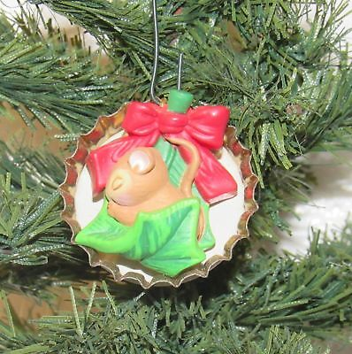 Hallmark Keepsake Forty Winks 1993 Miniature Bottle Cap Ornament with Baby Mouse