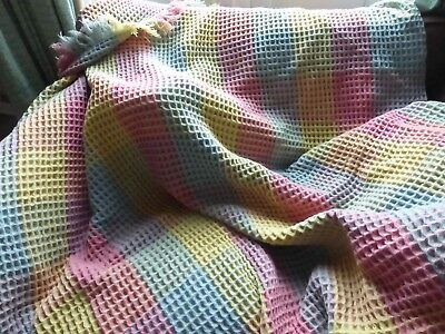 Welsh Wool Large Vintage Honeycomb Fringed Blanket Throw - Candy colours