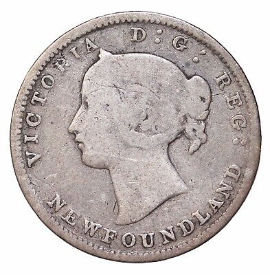 1880 Newfoundland Silver 5 Five Cents Canada British Queen Victoria KM#2