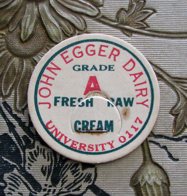 scarce old JOHN EGGER DAIRY / PORTLAND OREGON Fresh Raw Cream milk bottle cap