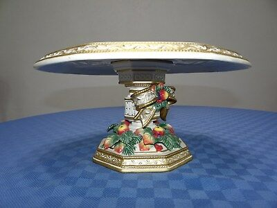 Fitz & Floyd SNOWY WOODS Christmas Holiday Classics Cake Stand Excellent!