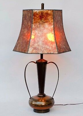 Vintage Arts and Crafts Copper/Brass Lamp with Large 6 Sided Mica Shade