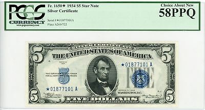 1934 Fr.1650* $5 United States Silver Certificate *STAR* Note - PCGS 58 PPQ
