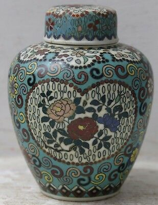 Very Beautiful Old Chinese Japanese Pottery Vase With Cloisonne