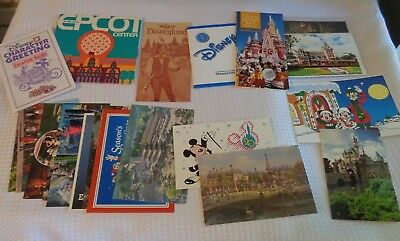 Disneyland Postcards brochures Epcot Disney World Vintage 1980s guides