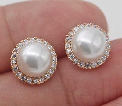 18K Gold Filled - Flower Big Pearl Round Clear Topaz Wedding Women Stud Earrings