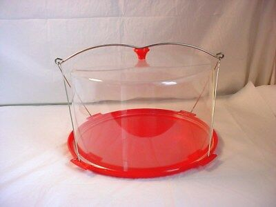 Vtg Clear and Red Plastic Cake Pie Carrier Keeper Mid Century Modern