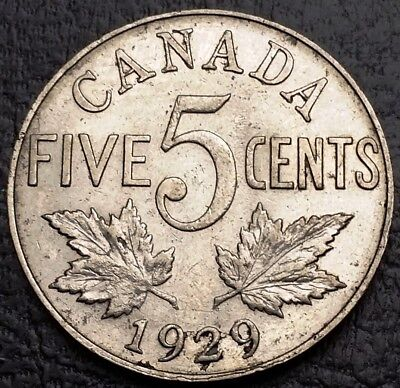 1929 Canada 5 Cents Nickel Coin ***VF Condition*** Free Combined Shipping