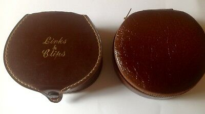 Vintage Mens Brown Leather Studs/links/ Jewellery Cases X 2