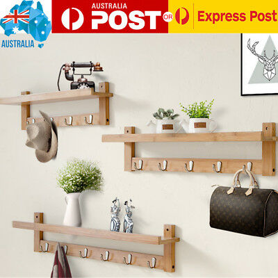 Indoor wall Mounted bamboo Hanger Clothes Coat Robe Hat Hook Rack Line AU