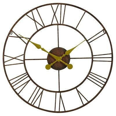 Shabby Chic Large 76cm Vintage Rustic style Metal Wall Clock with Gold Hands
