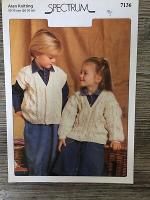 "Spectrum Knitting Pattern: Childrens Aran Cardigan & Waistcoat, 20-30"", 7136"