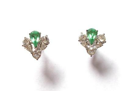 Vintage 1940's Signed Bogoff Green & Clear Glass Crystal Silver Tone Earrings