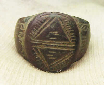 BYZANTINE EMPIRE, 8th-10th century AD, ENGRAVED & DECORATED BRONZE RING