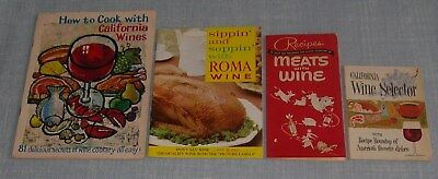 Vintage California Wine Board & Roma Wine Cooking Recipe Booklets Lot Of 4