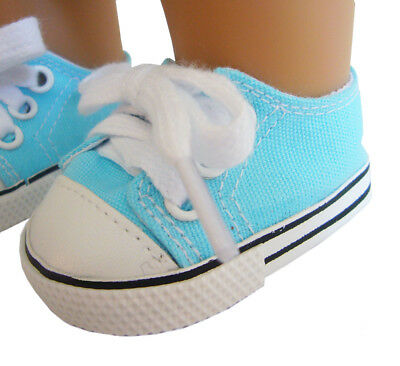"""For 18"""" American Girl Doll Clothes Aqua Blue Canvas Sneakers Shoes"""