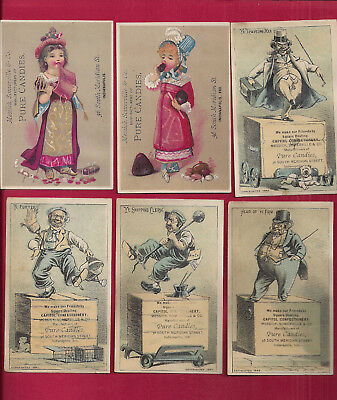 6 CANDY advertising trade cards, Capitol Confectionery, Indianapolis IN, ca 1880