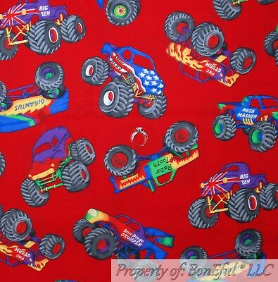 BonEful FABRIC FQ Cotton Quilt Red Big Large Monster Truck Tire USA American Boy