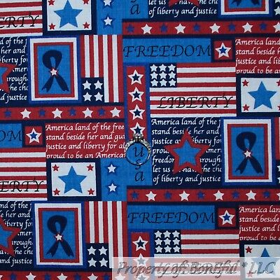 BonEful Fabric FQ Cotton Quilt VTG Brown Red White Blue America*n Flag Country S