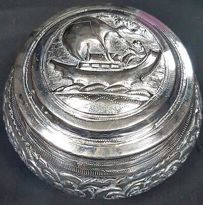 Lovely Antique Indian South East Asian Silver Repousse Box, Silver Lidded Bowl