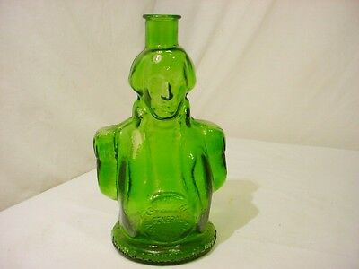 "Vtg Wheaton Figural Bottle Army General President George Washington Green 9"" H"