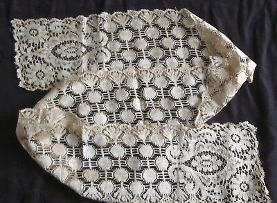 "antique silk lace scarf golden cream 44x4.5"" floral lace patterns good condition"
